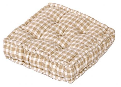 CREAM COLOUR GINGHAM CHECK DINING / GARDEN CHAIR BOOSTER CUSHION SEAT PAD